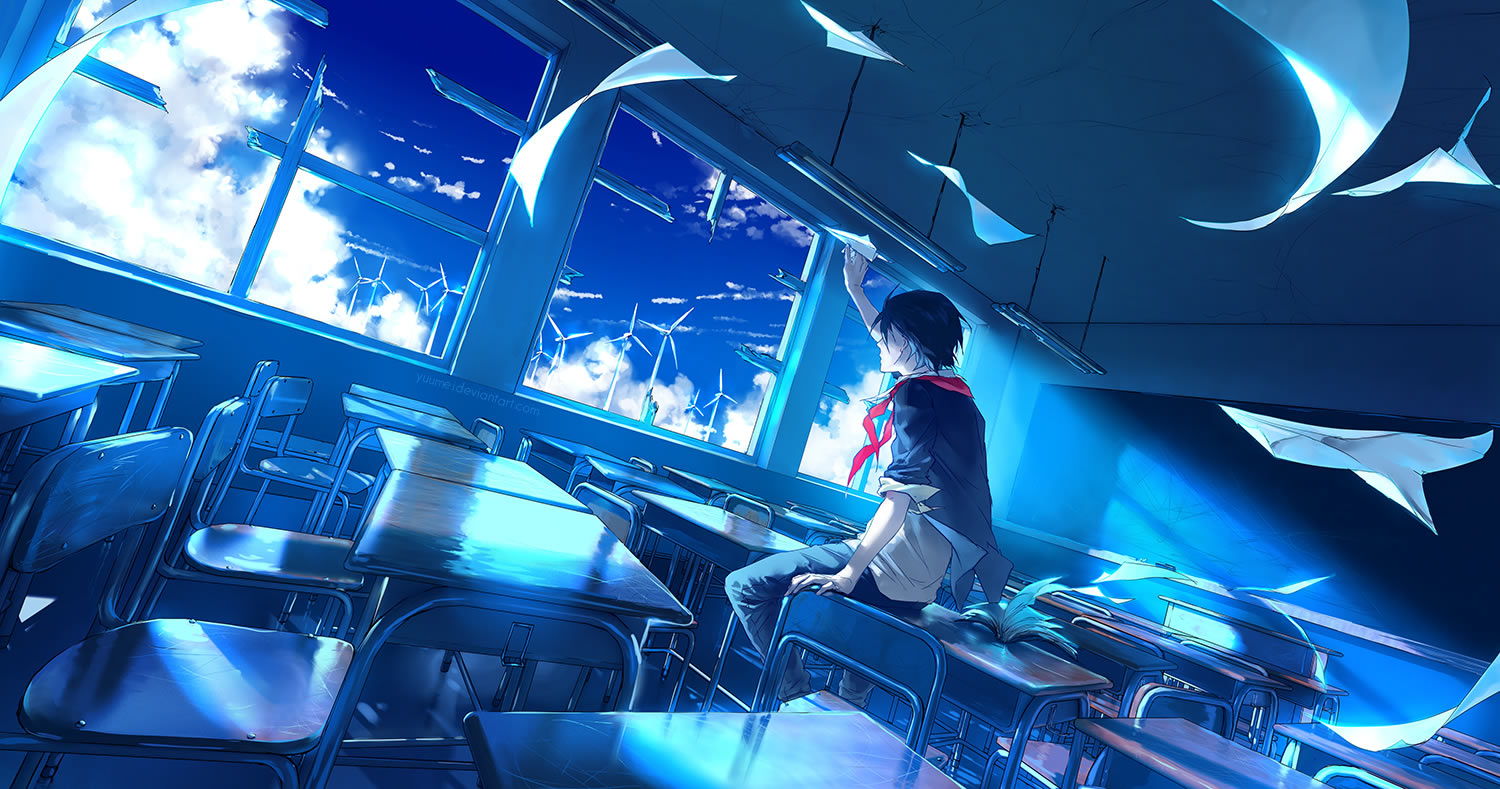 biy and paper planes, anime, blue