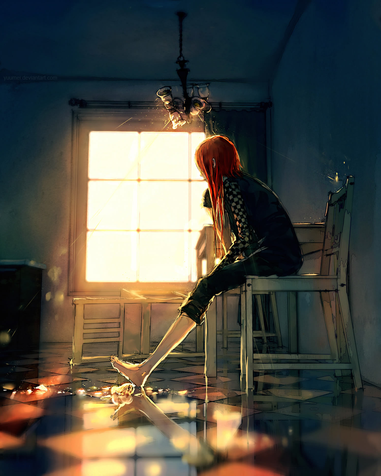 girl looking at window, illustration, anime