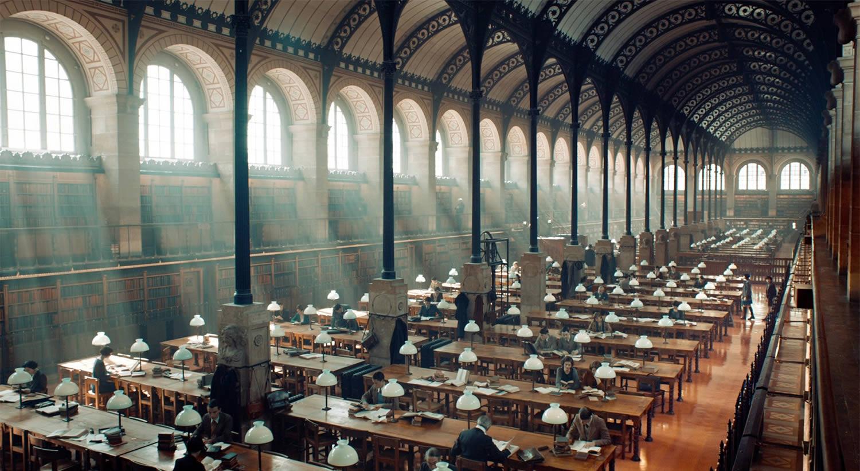 library scene in Hugo