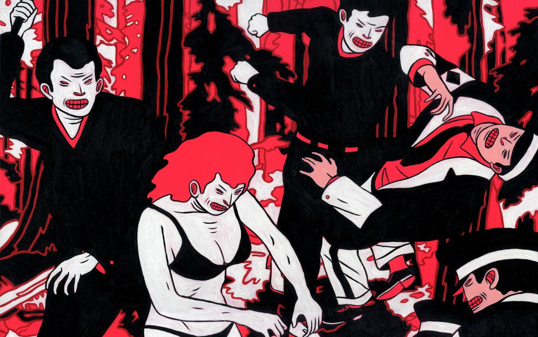 cleon patterson colour illustration violence fighting print