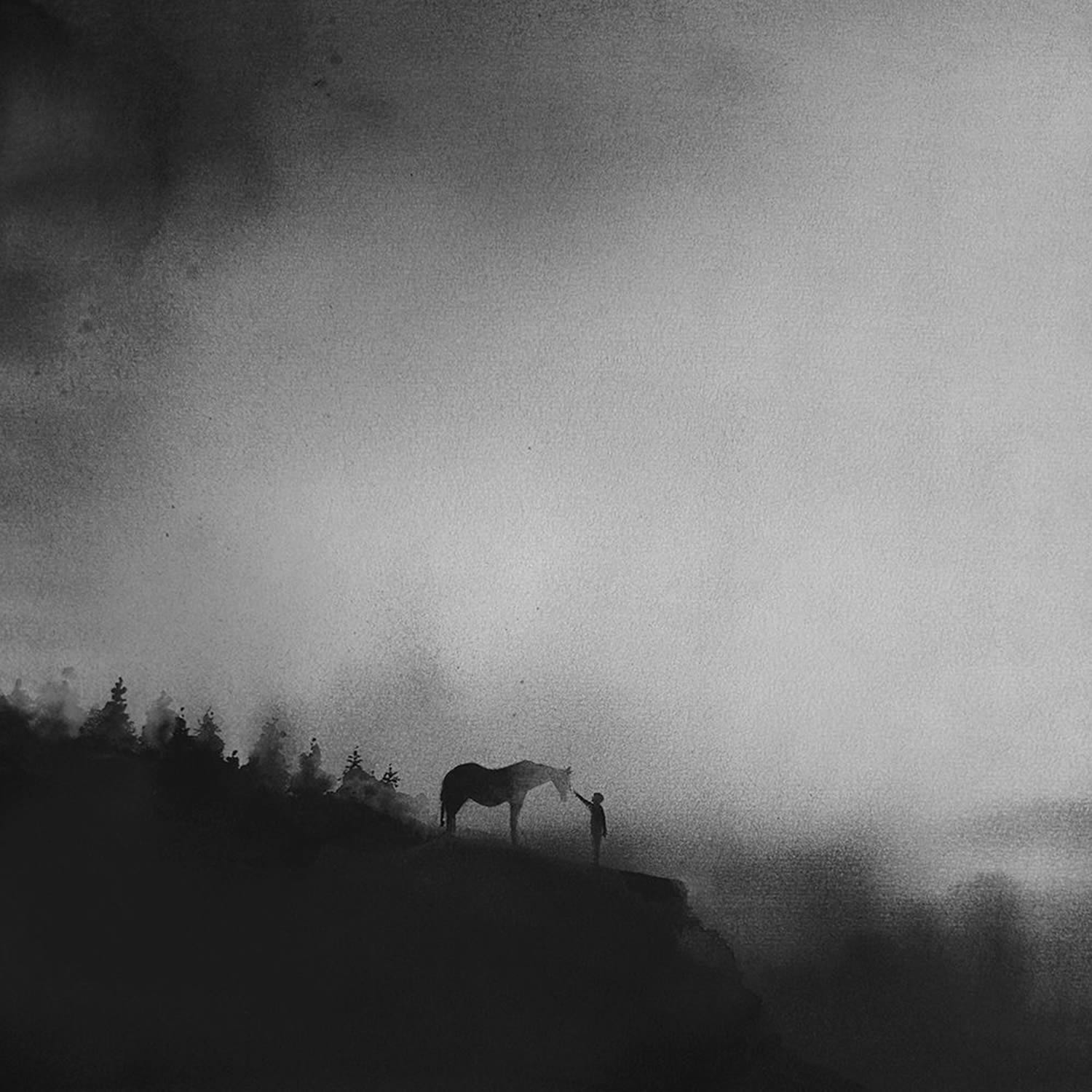 animals in mist, painting
