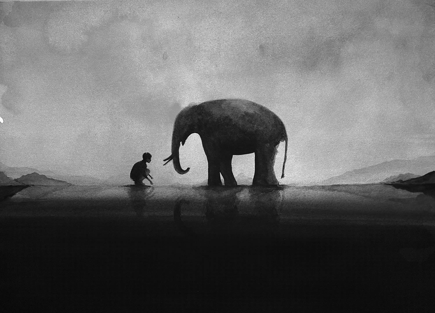 elephant and boy, painting