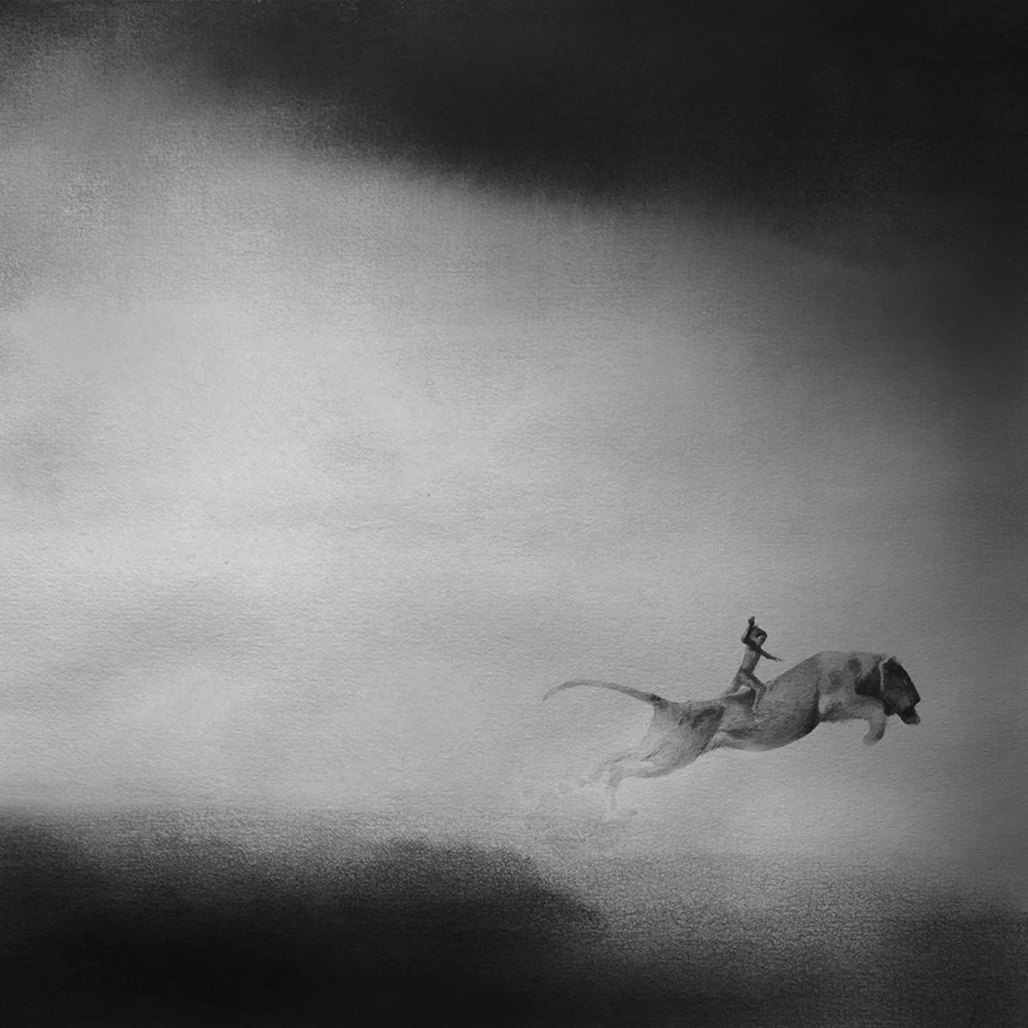 animal jumping, painting, monochromatic