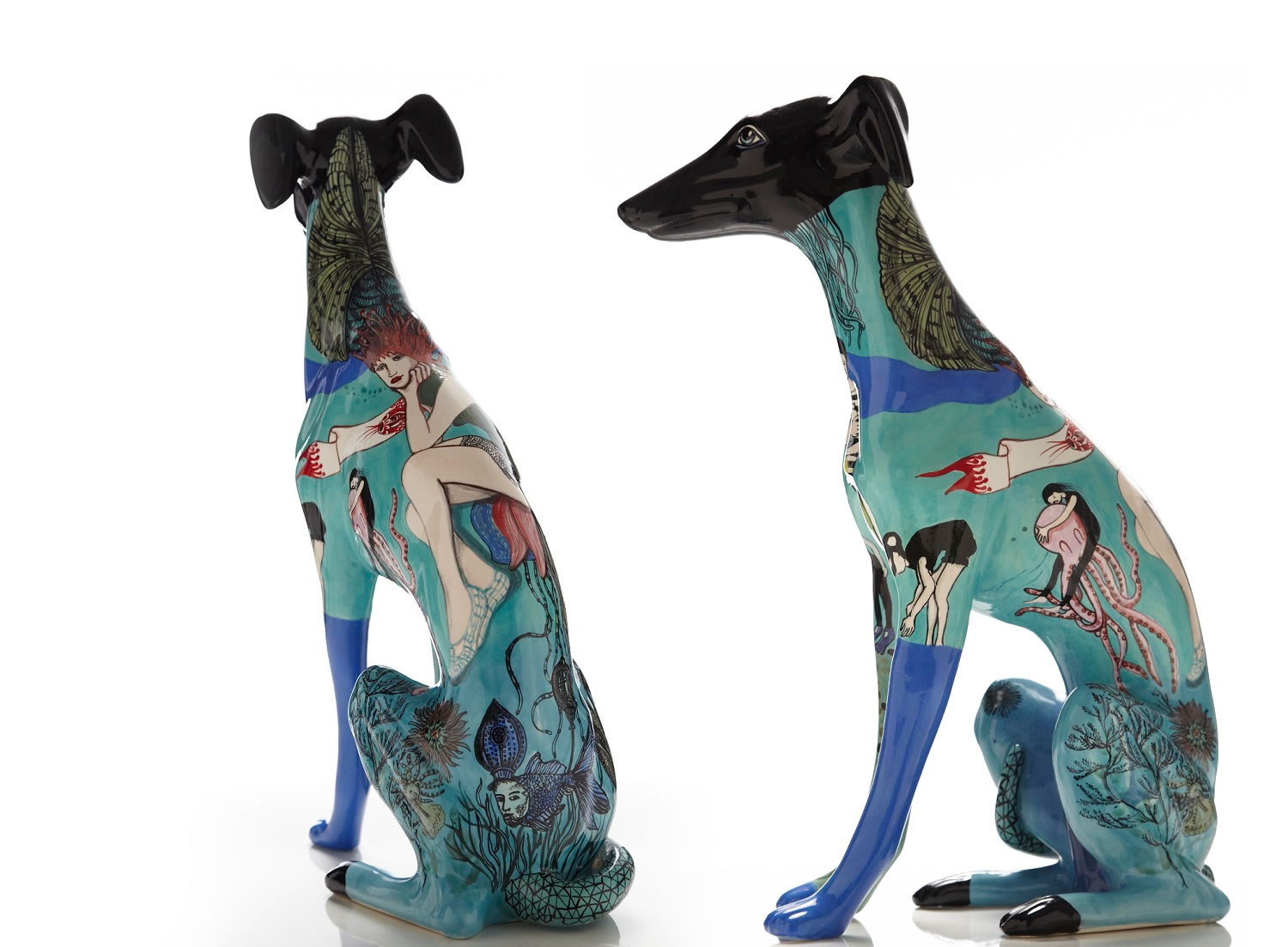 Painted Ceramic Greyhounds by Evelyn Tannus