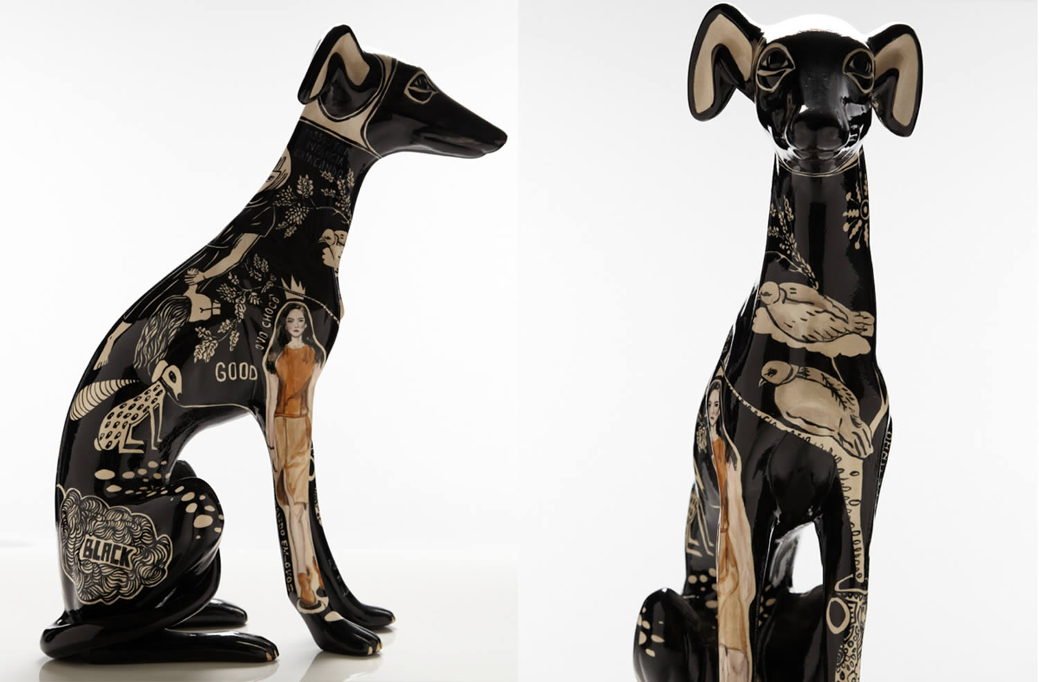 seated greyhound, front and side views