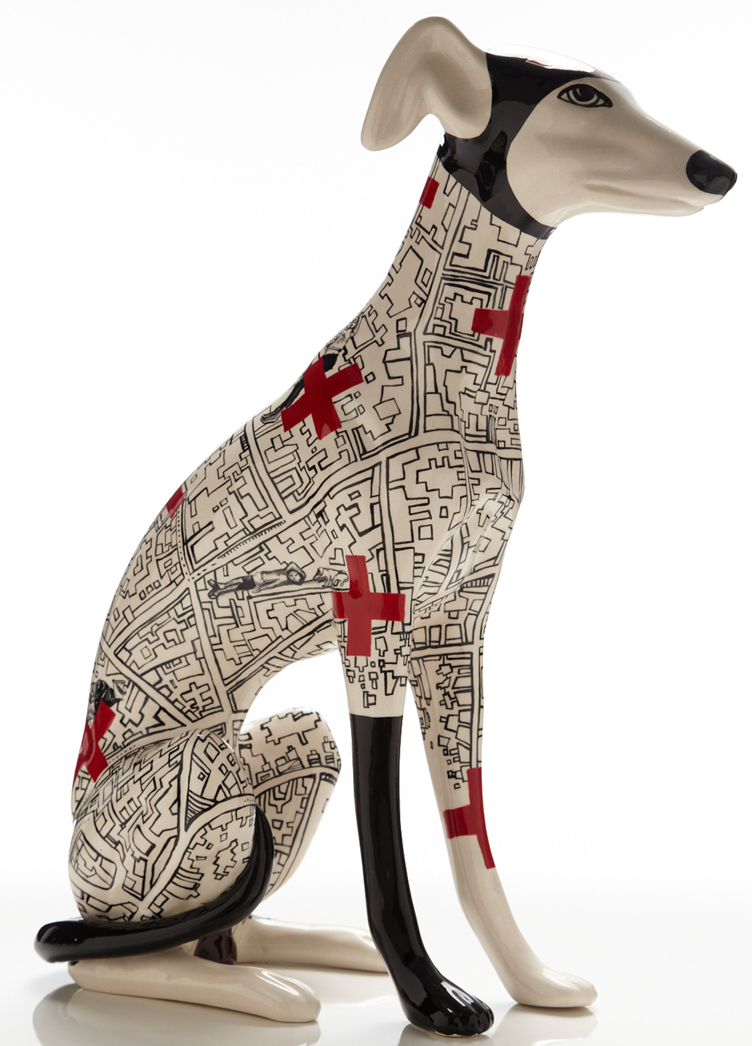 seated greyhound with geometric patters