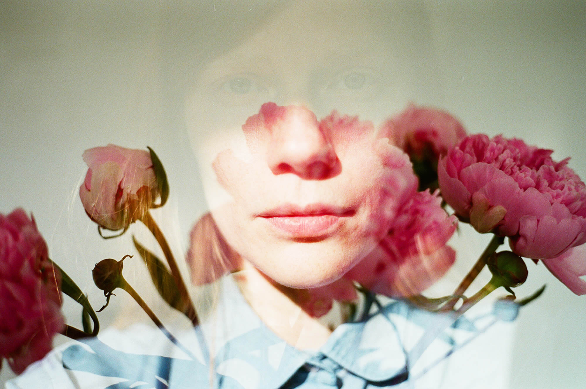 double exposure, roses and portrait
