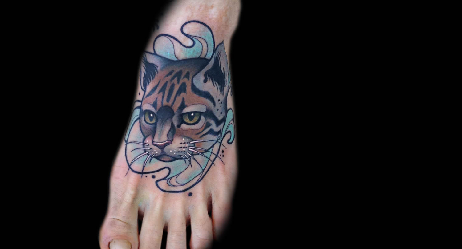 wild cat foot tattoo