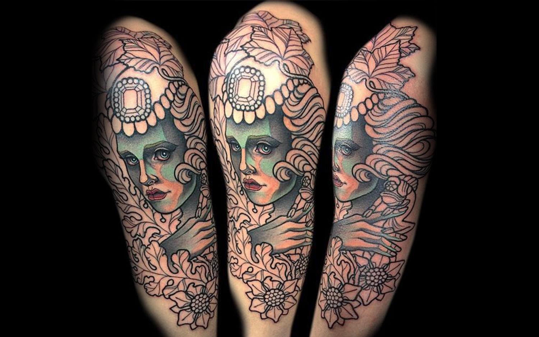art nouveau portrait tattoo