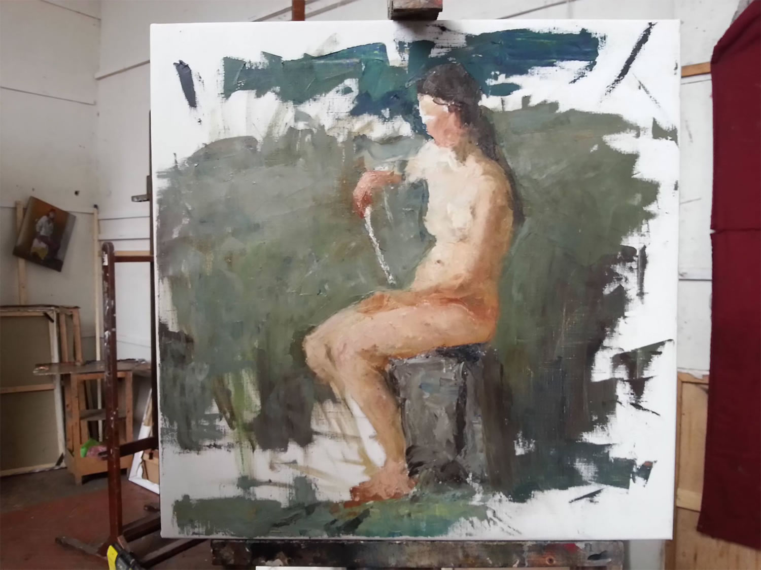 Sergey Gusev painting nude body woman