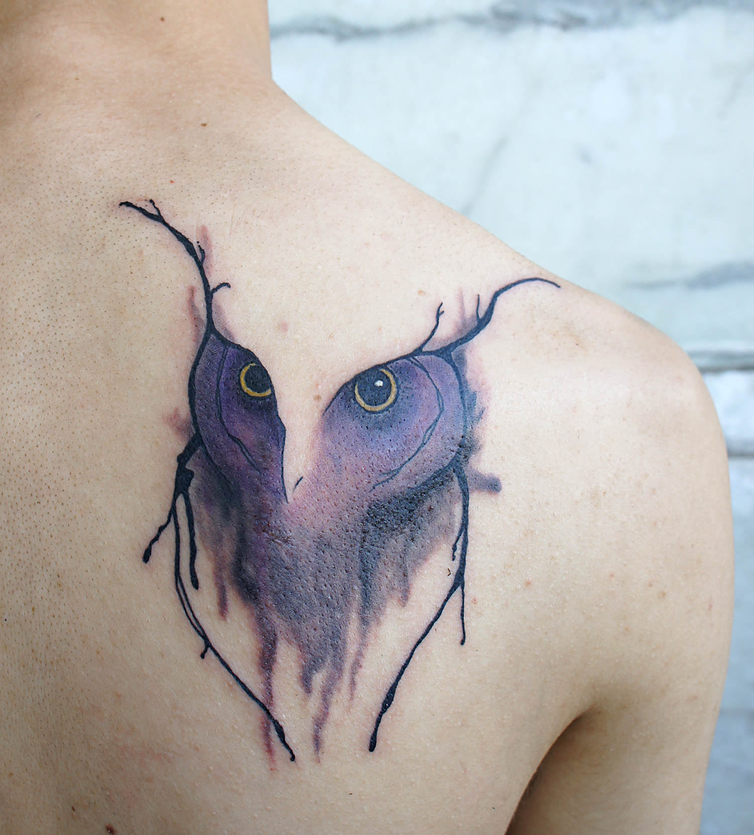 abstract style, owl tattoo, purple