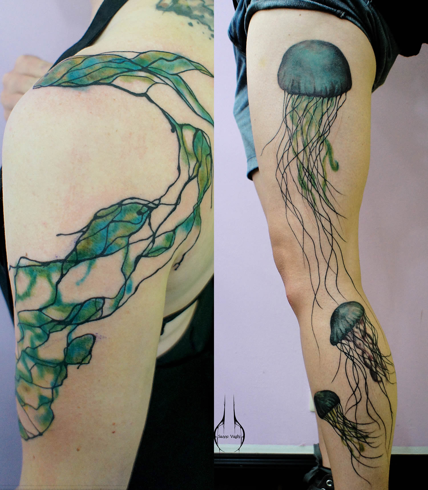 abstract shapes and jellyfish