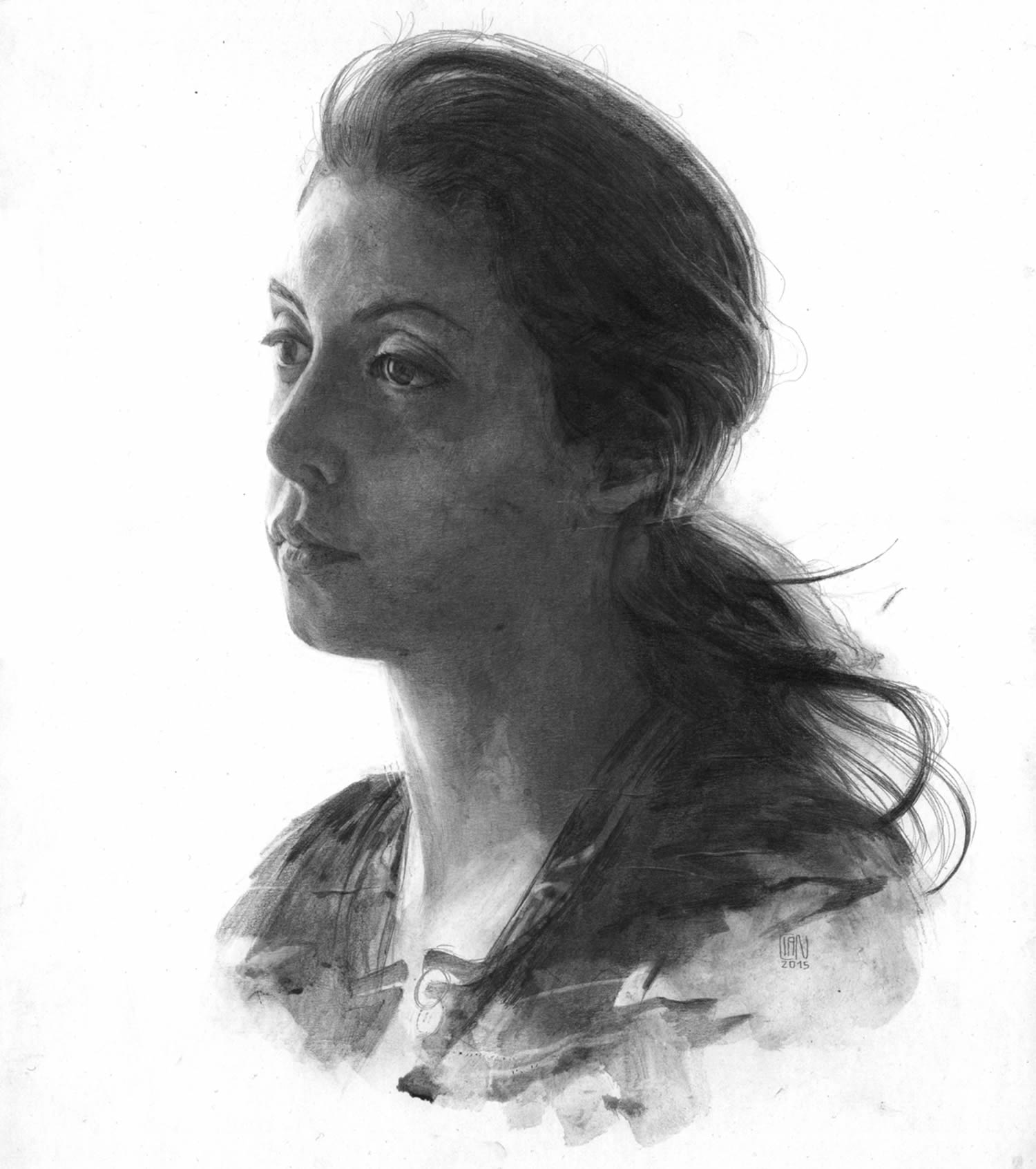 woman with ponytail, black and white drawing