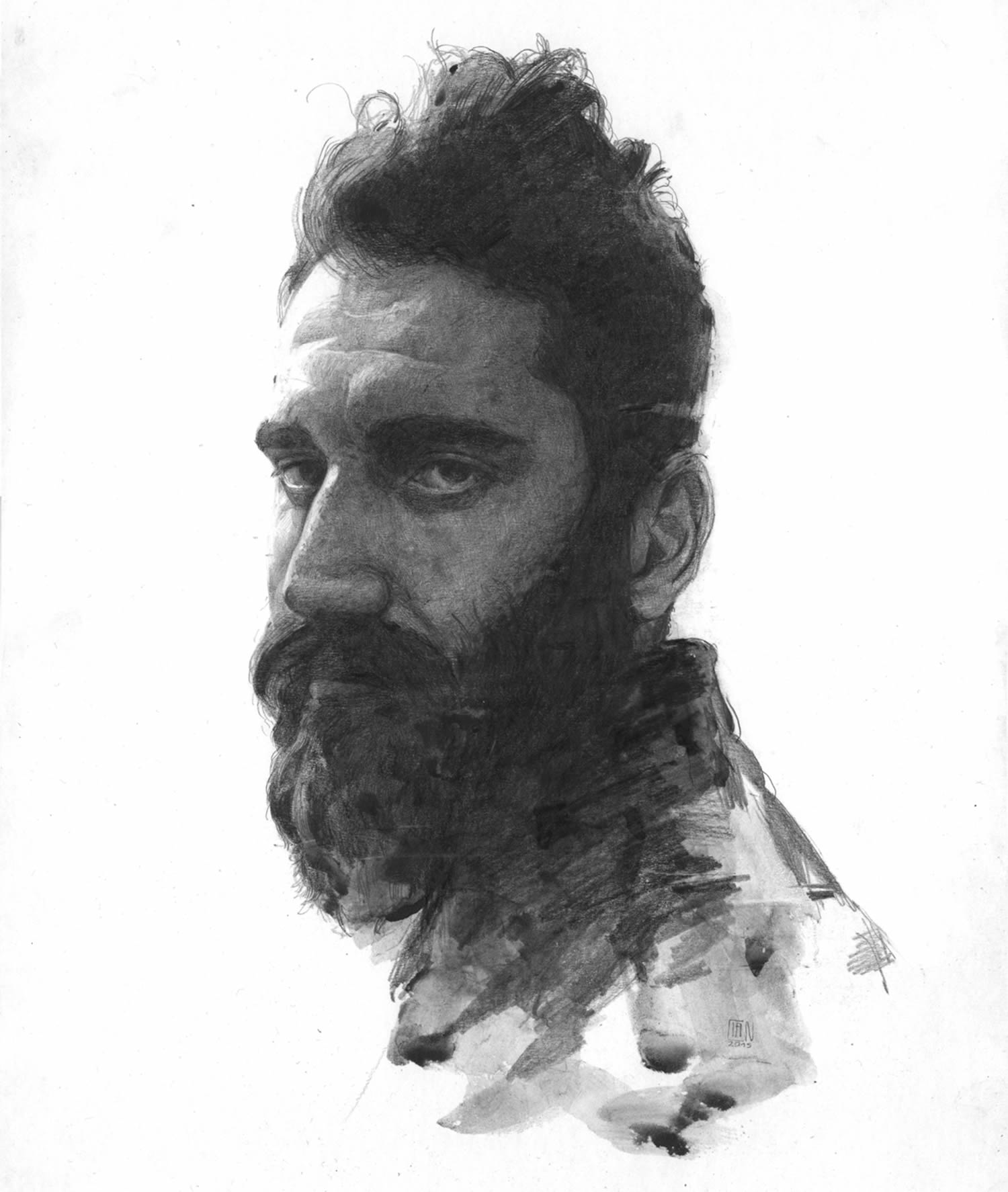 man with beard, drawing