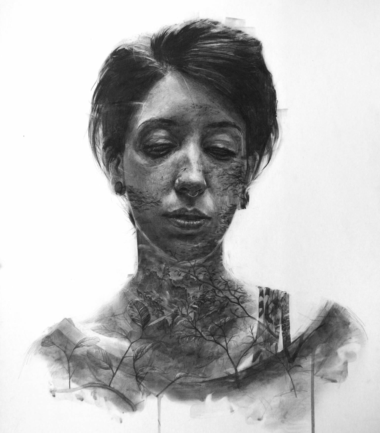 woman, double exposure drawing