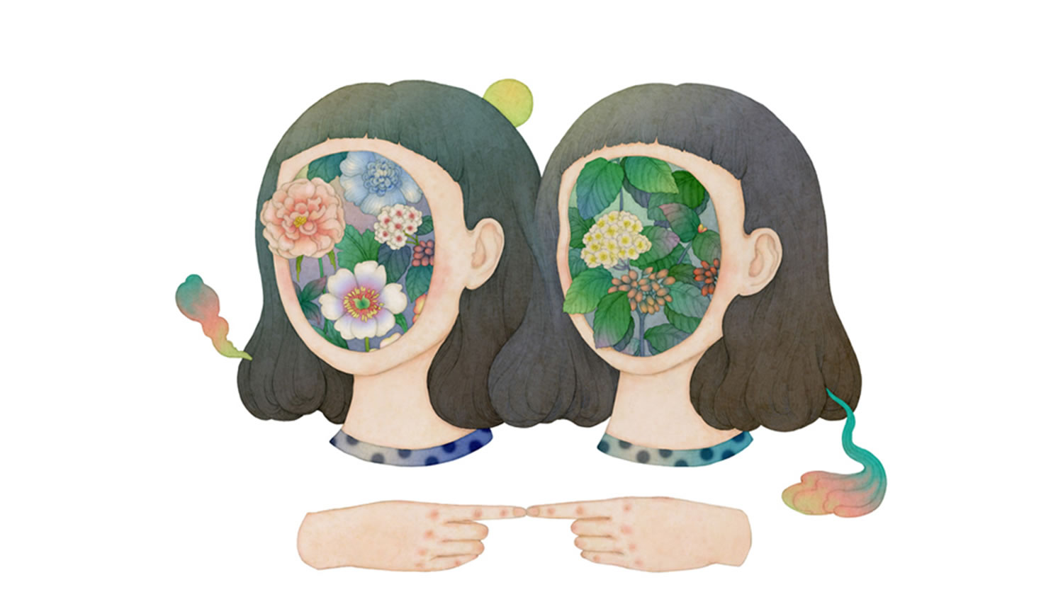 Whooli Chen illustration of flowers covering face