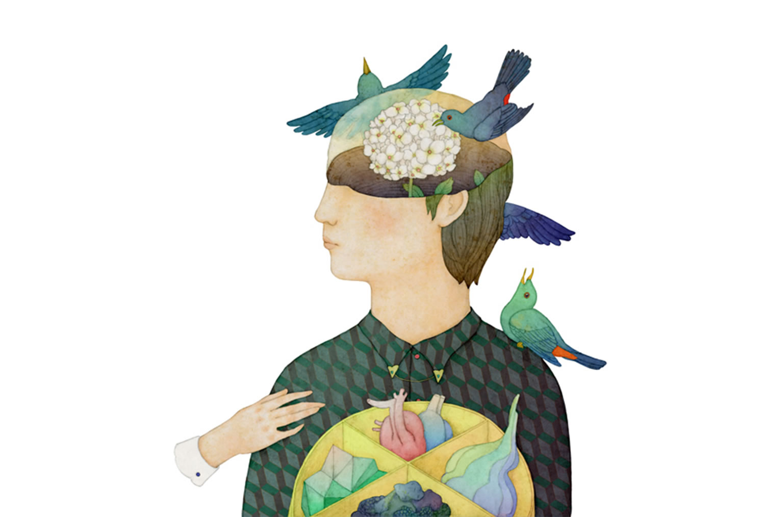 whooli chen portrait with birds around face