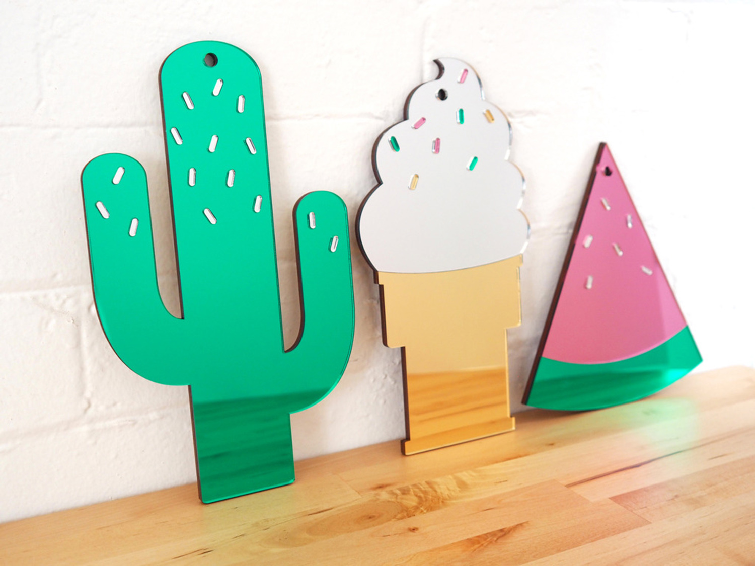 Cactus, watermelon, and ice cream mirrors by McKean Studio