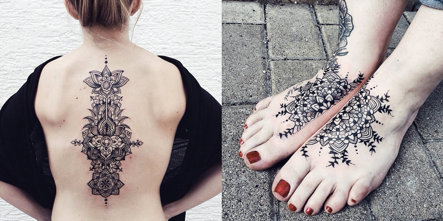 image of tattoos on back and feet