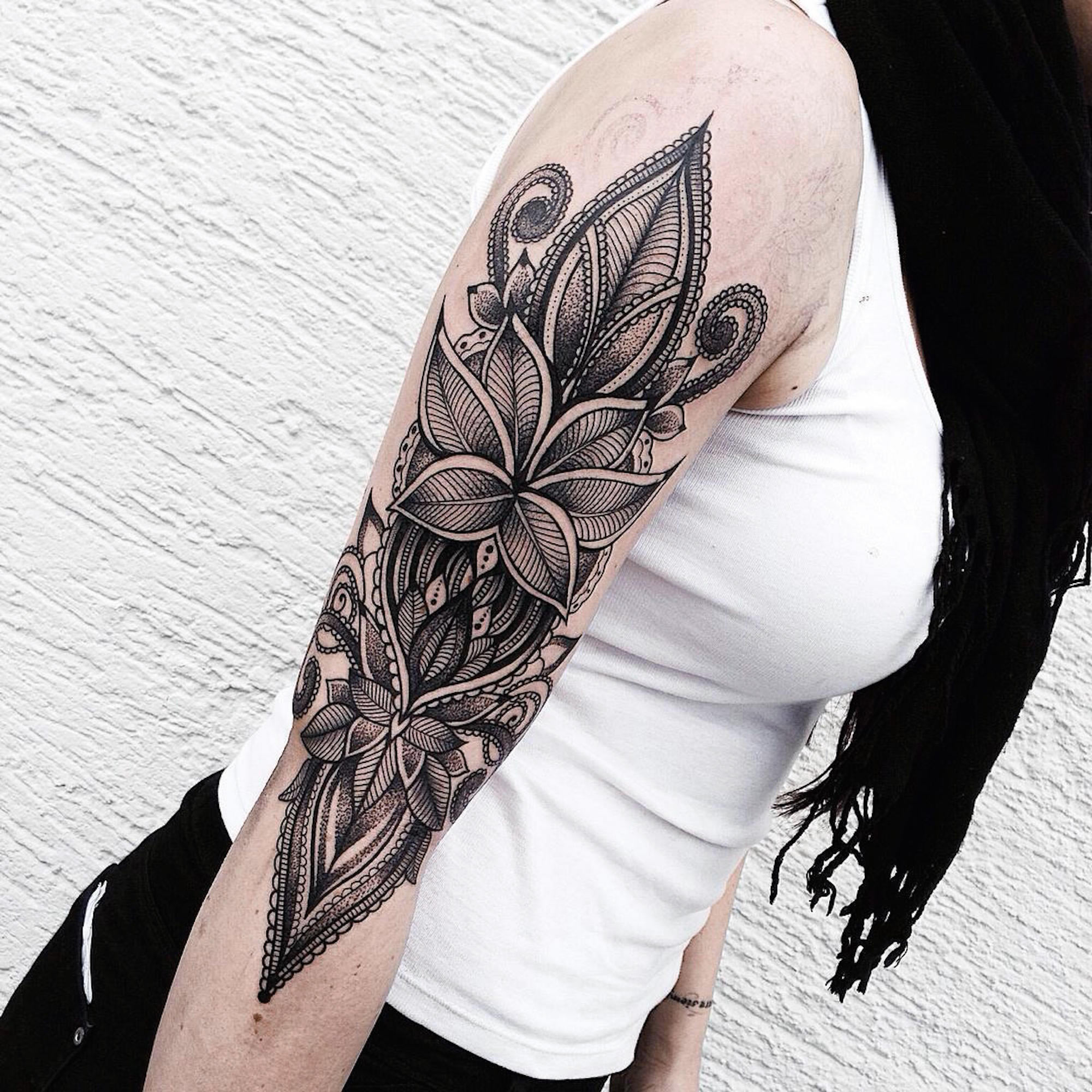 ornamental blackwork on arm, tattoo by jessica kinzer