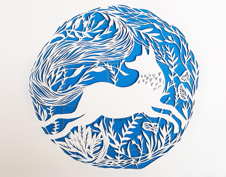 fox paper cutout