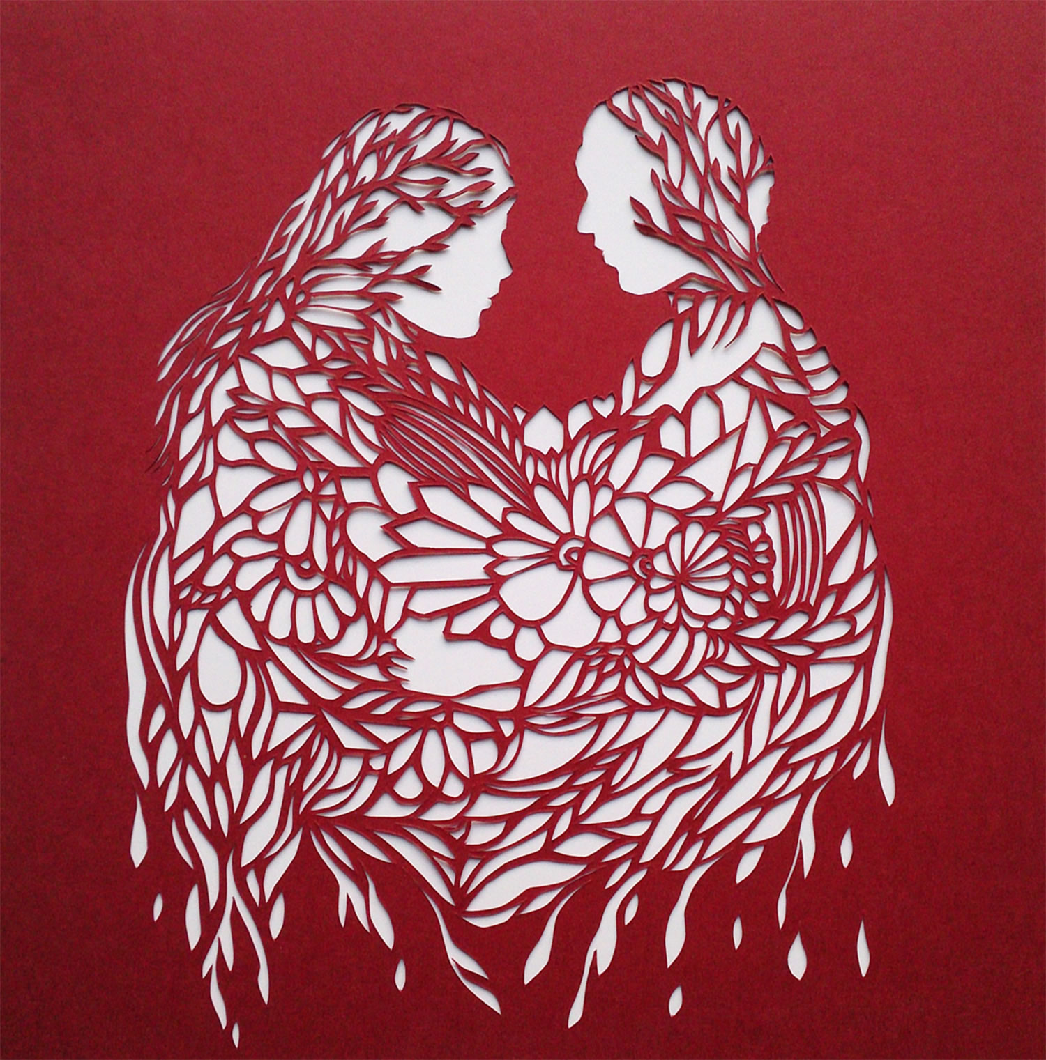 oozing love, red paper cutout