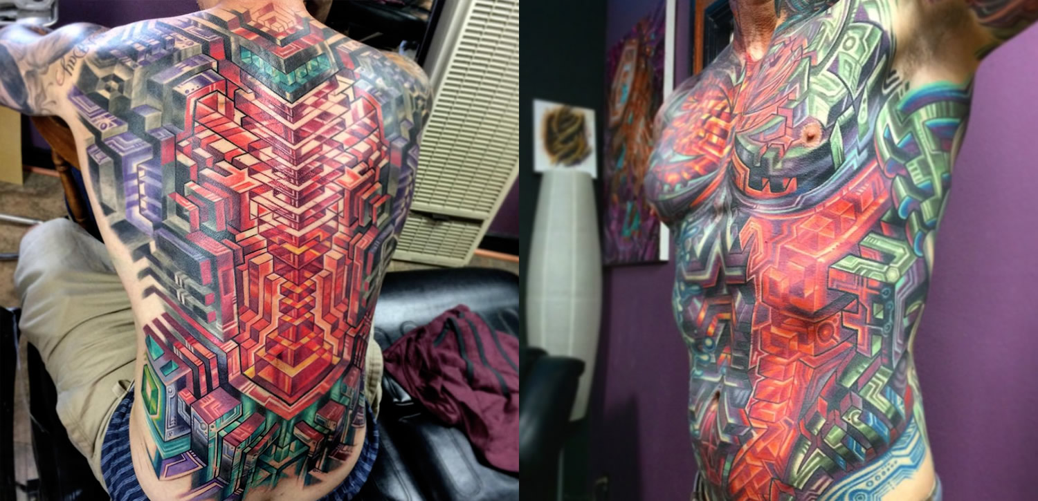 neon biomechanical tattoos by mike cole