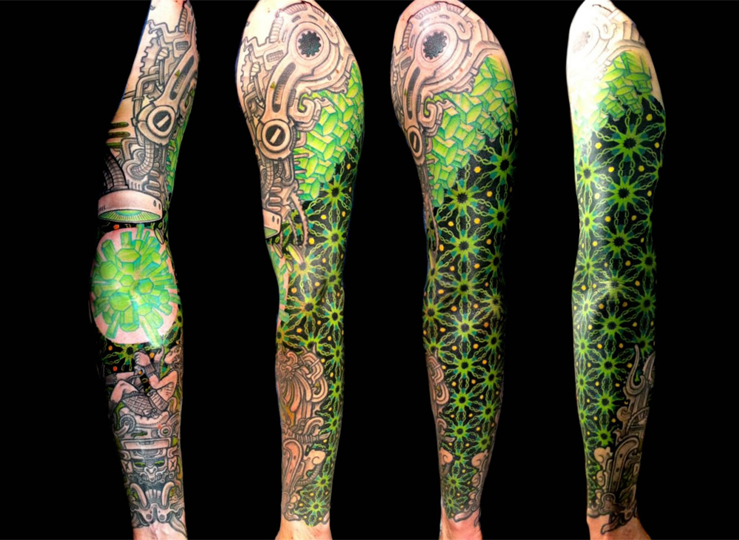 biomechanical tattoos, neon green sleeve, by DELAINE 'NEO' GILMA