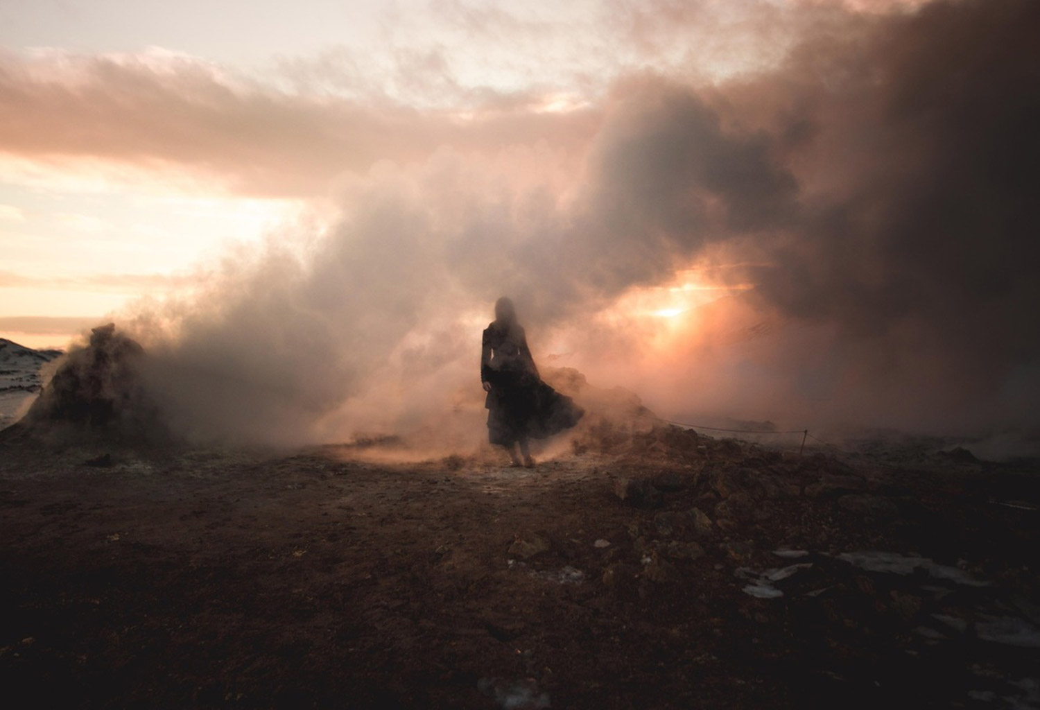 Amy Haselhurst, Broken Sundowns, woman in fiery fog, destruction