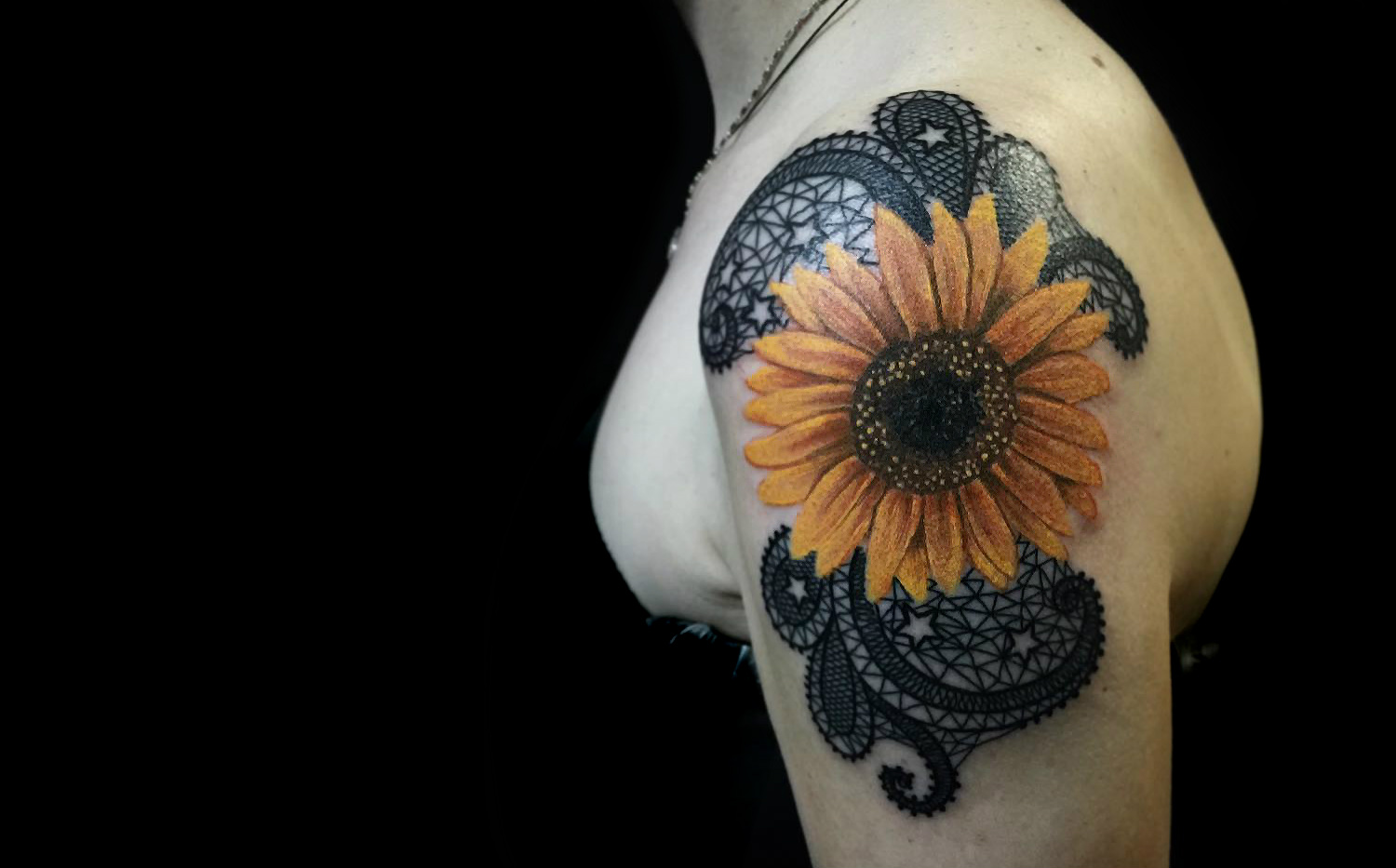 lace sunflower tattoo by falukorv