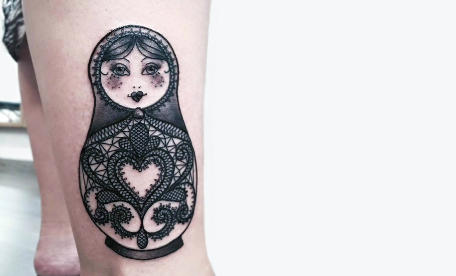 lace matryoshka doll tattoo by falukorv