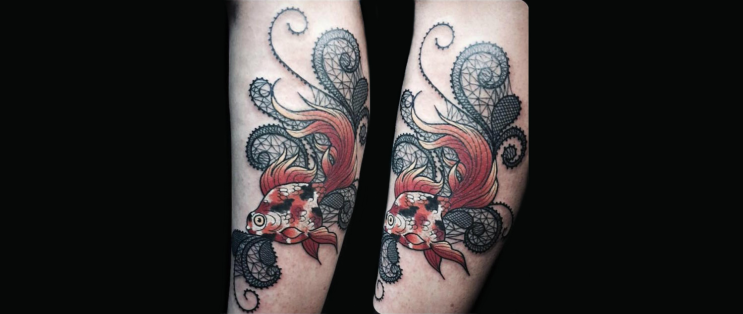japanese goldfish lace tattoo by falukorv