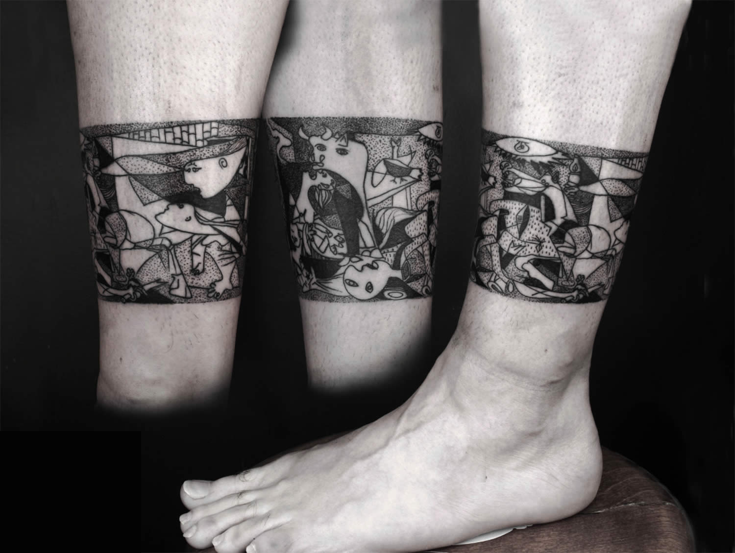 guernica, dotwork, tattoo by okan uckan