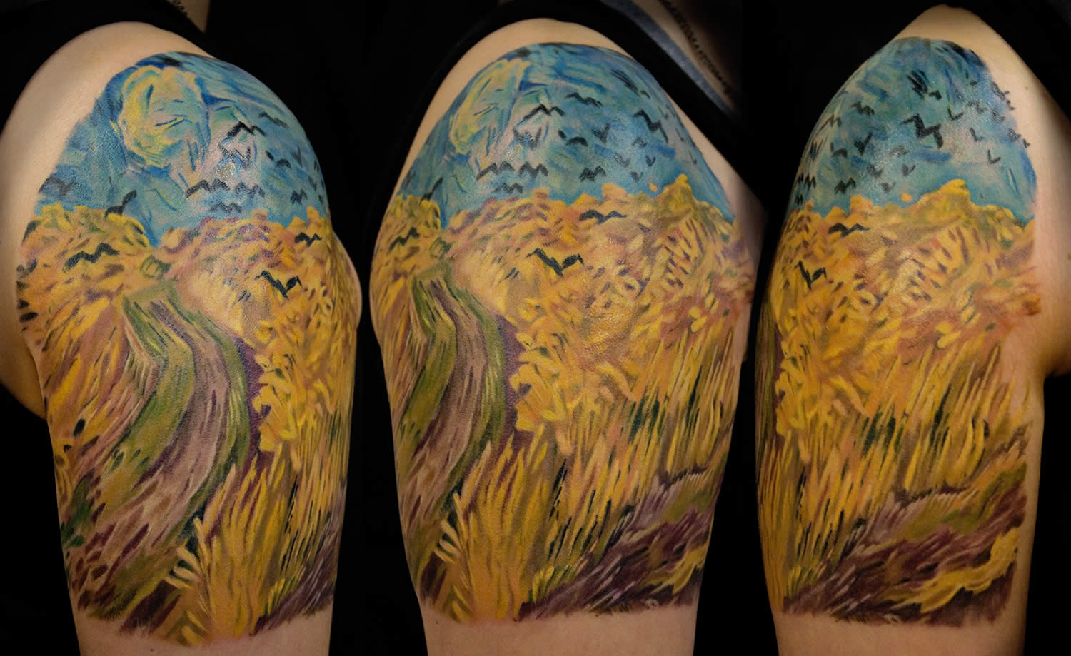 wheatfield tattoo sleeve by chris walkin. based on a van gogh painting