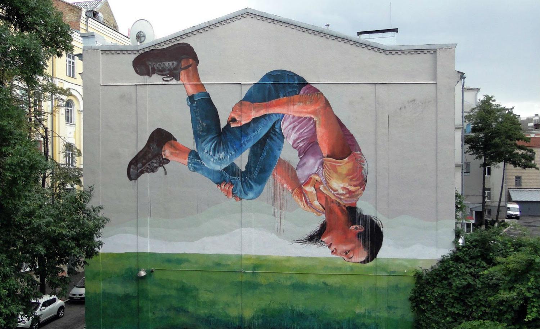 Fintan Magee gymnast mural in Ukraine