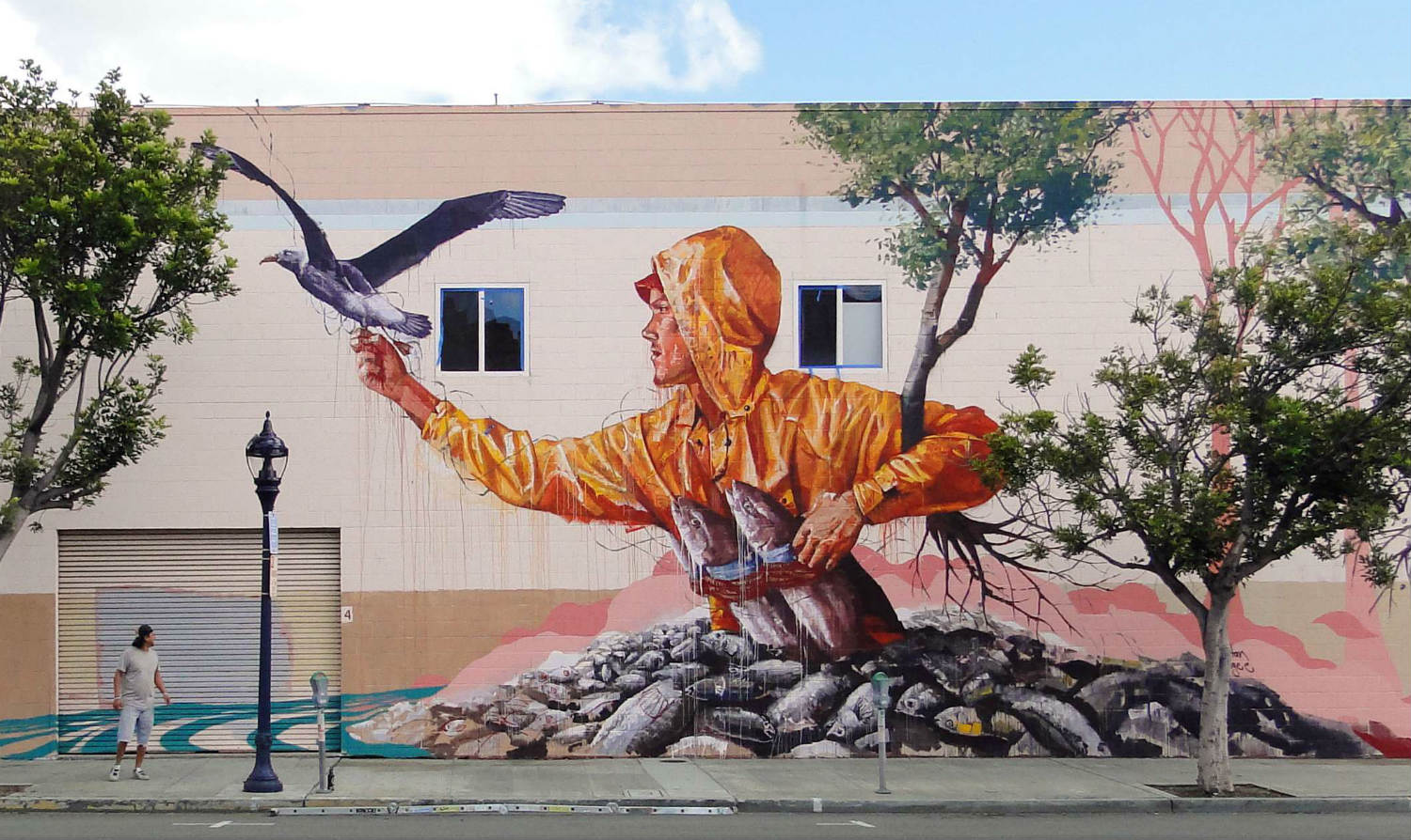 Fintan Magee fisherman street art in San Diego