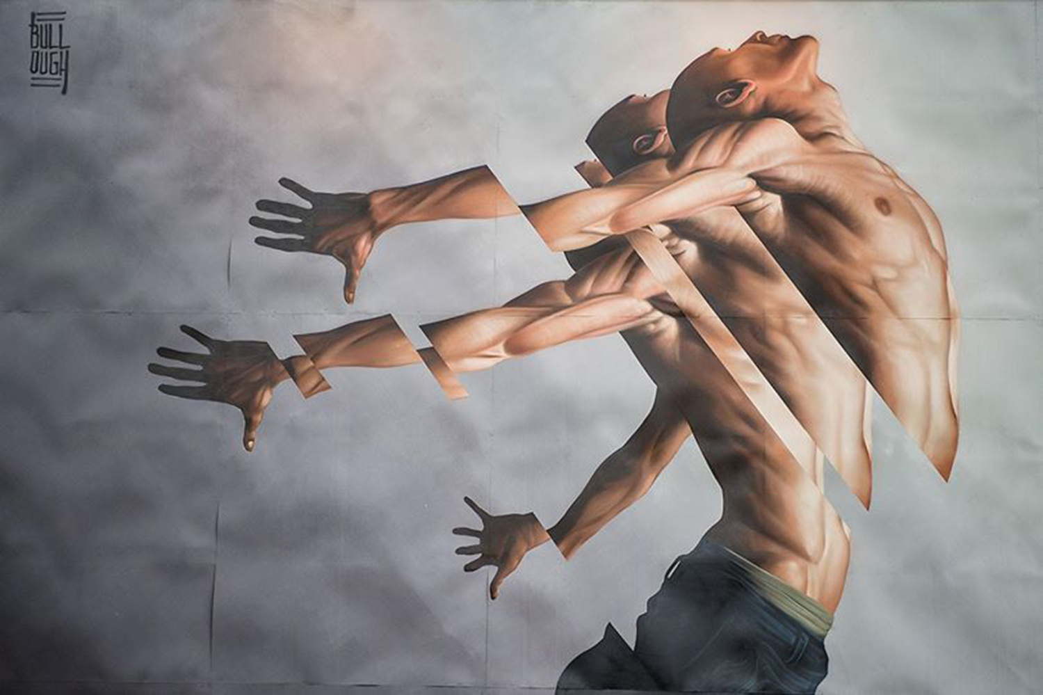 segmented mural of a man by james bullough