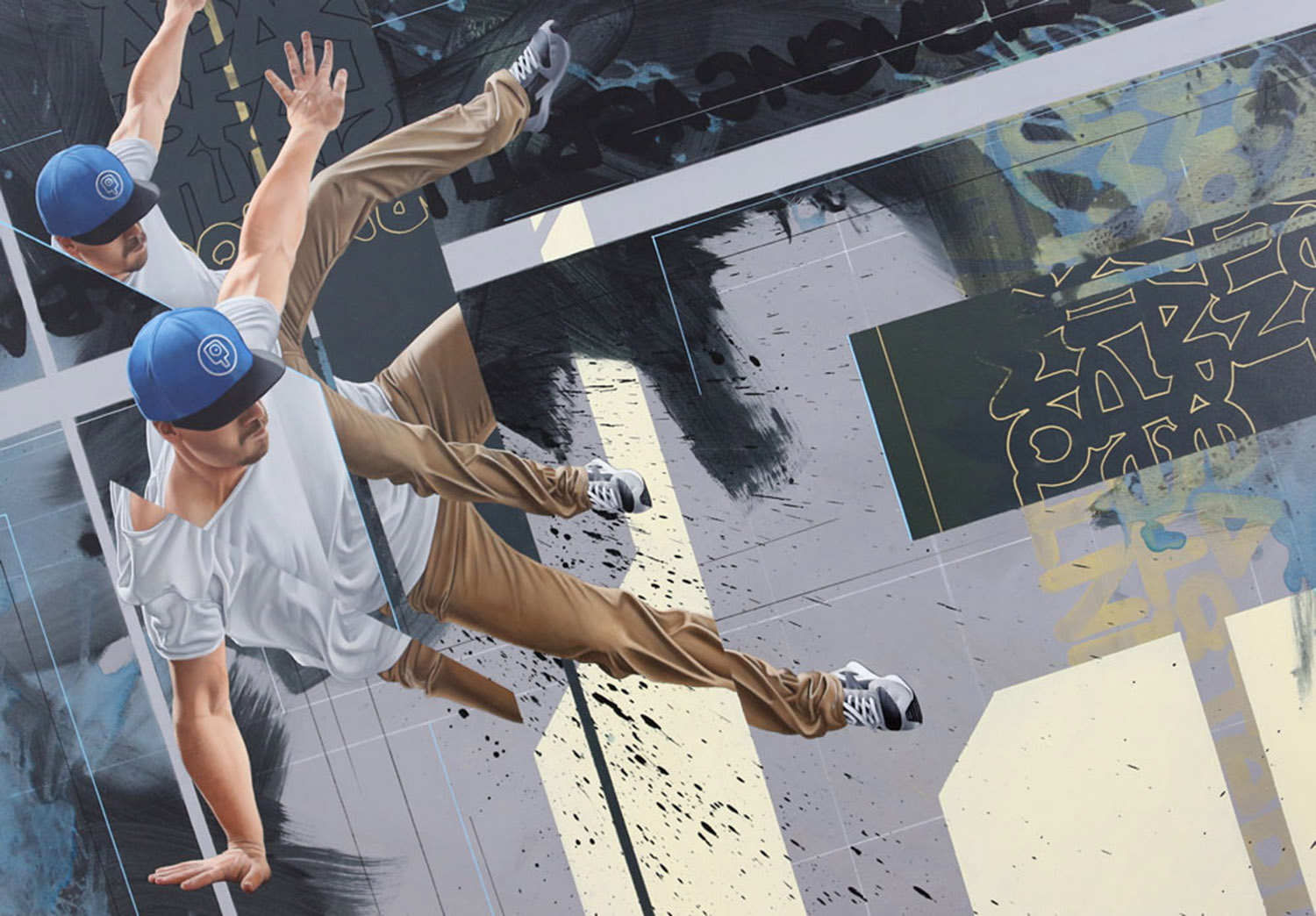 segmented painting of a dancer by james bullough