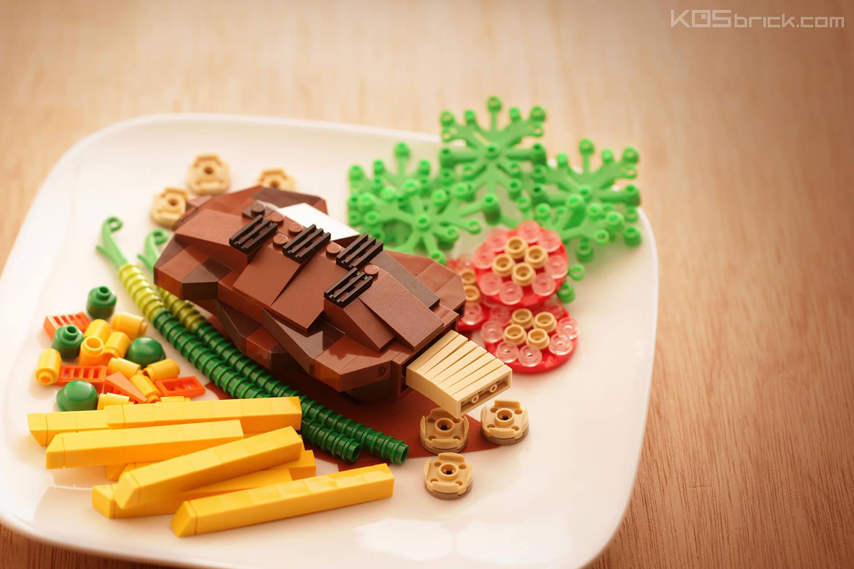 turkey dinner, food art, lego