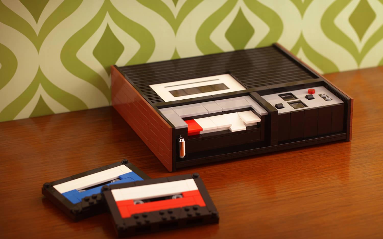 vintage cassette recorder, built in lego