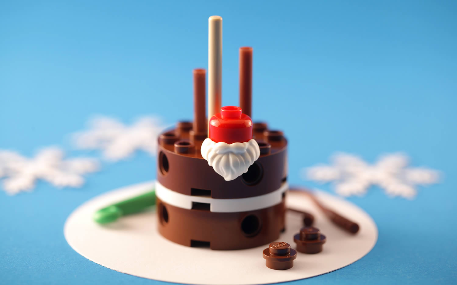 chocolate cake with cherry top, lego