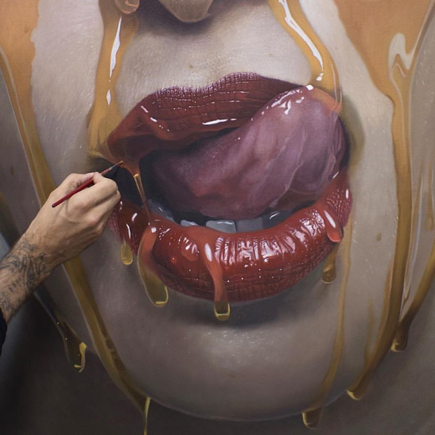 mike dargas close up of work in progress