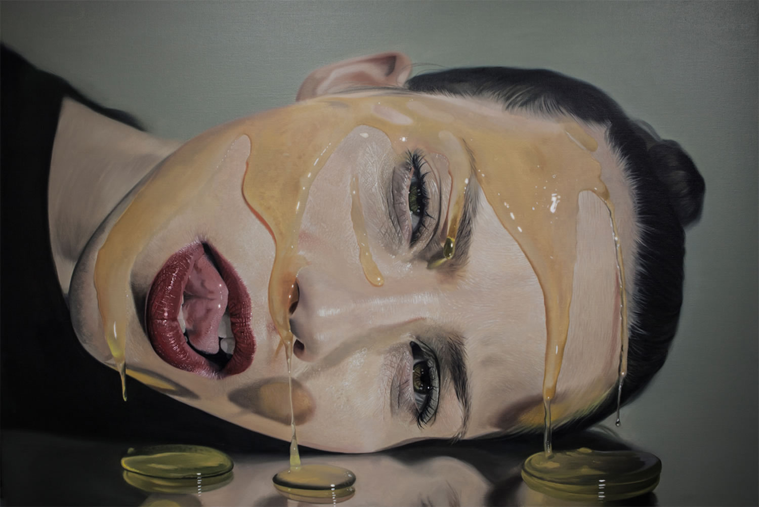 Sirup, painting series by mike dargas. Woman's head on the table