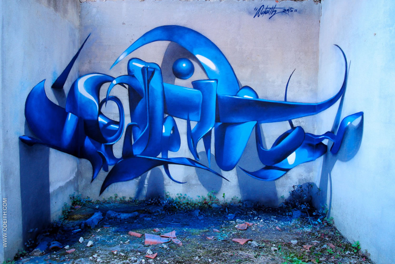 odeith letters in blue, 3d graffiti