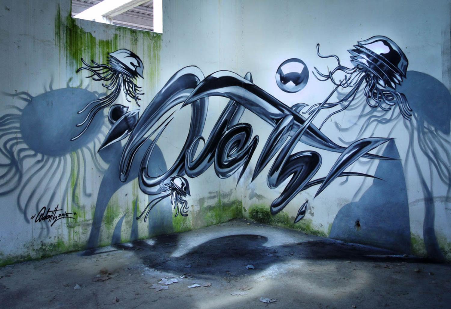 alien 3d graffiti