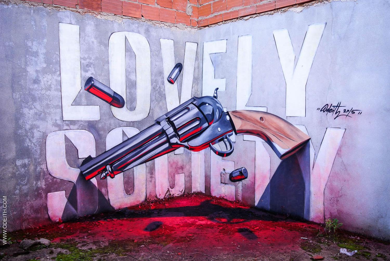 anamorphic gun, graffiti