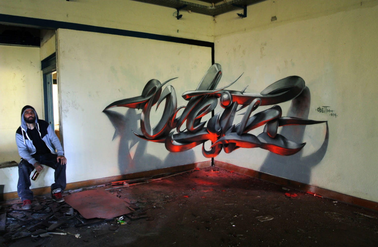 odeith, silver and orange lettering