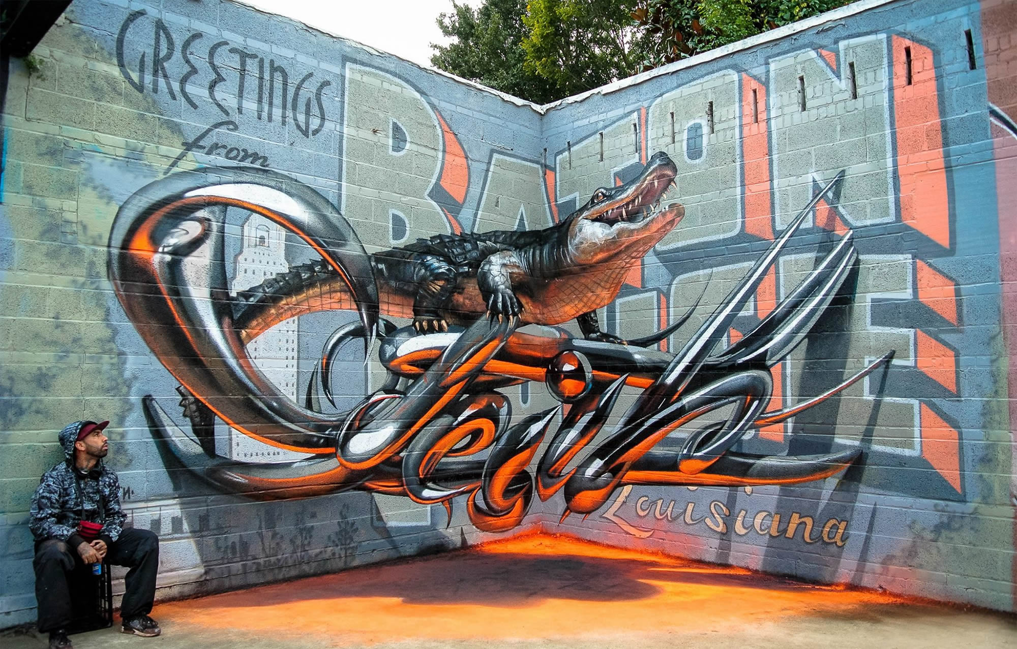 odeith letters on wall, aligator, 3d graffiti, anamorphic