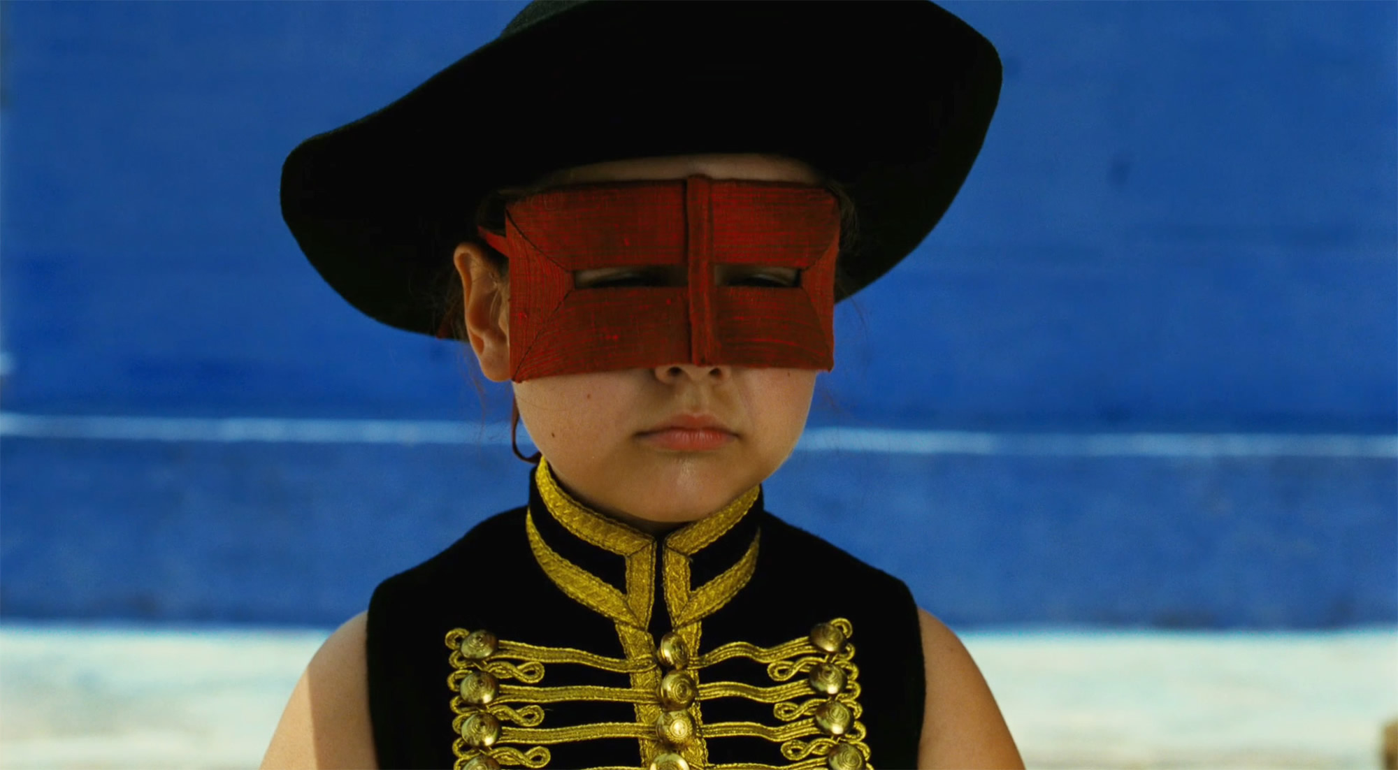 child with mask in the fall 2006