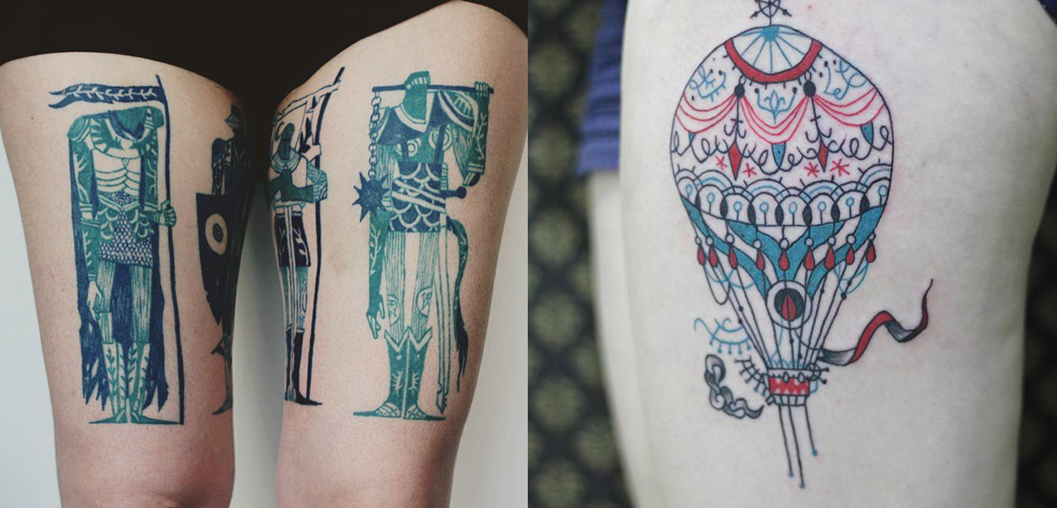 Double tattoos of soldiers and air balloon